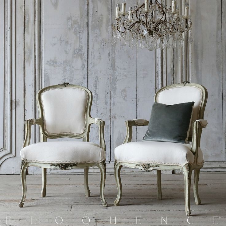 Eloquence One Of A Kind Vintage French Country Green Louis XV Style  Armchairs. #French