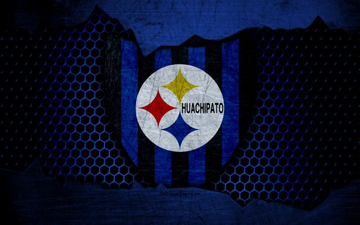 Download wallpapers Huachipato, 4k, logo, Chilean Primera Division, soccer, football club, Chile, grunge, metal texture, Huachipato FC