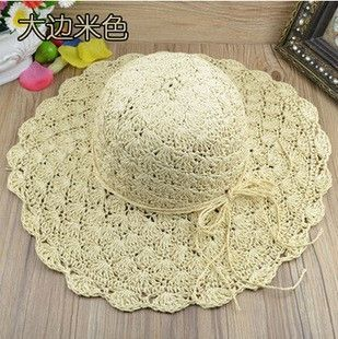 10pcs free shipping/2015A-412,solid manual hook is colored straw hat sun bucket cap, ms summer hats wholesale