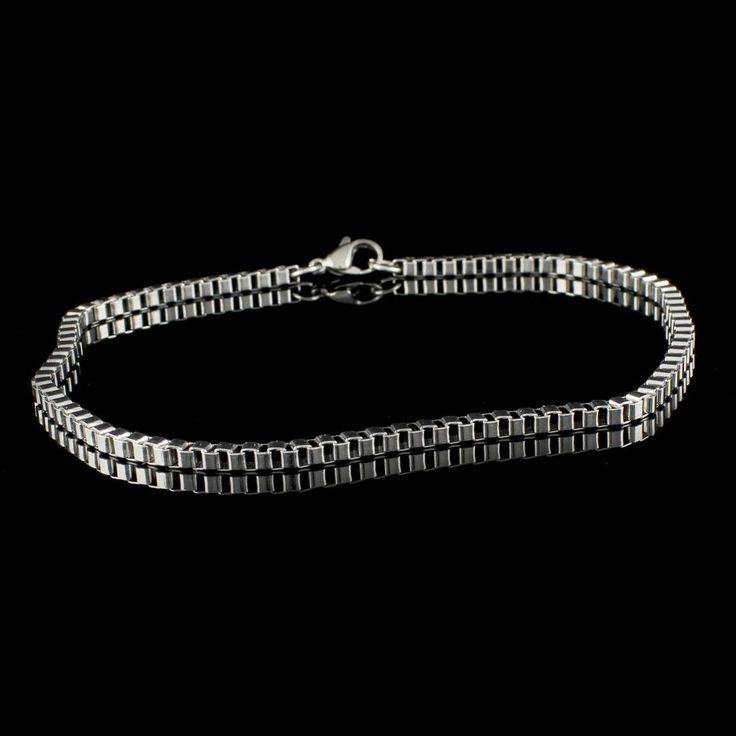 Steel by Design Stainless Steel Box Chain Ankle Bracelet 681D +Black Diamond #SteelbyDesign #Ankle