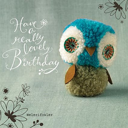 Pom pom owl – 'Tiddly pom pom' Paper Rose