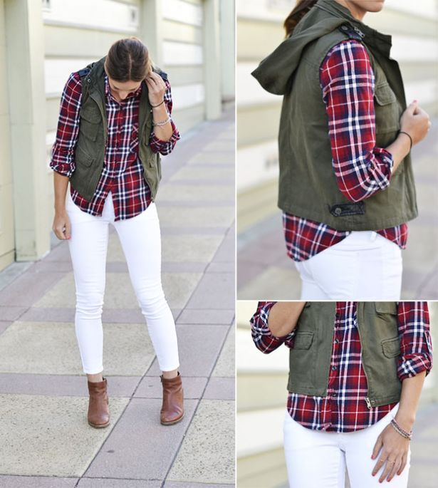 Thought Labor Day was the time to tuck away your white summer skinnies? No way. You can keep wearing those white jeans all fall long. Here are a few of our favorite looks that will transition your white jeans from summer to fall: 1. Rad in Plaid Look sporty and seasonal by pairing your white skinnies with a plaid flannel. Complete the look with a fitted cargo vest and some neutral ankle booties.