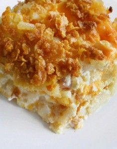 Cheesy Hash Brown Potato Casserole.  I substitute French's onions for the corn flakes and it is delicious. I also cook mine in the microwave. Saves time and money. Love my Tupperware microwave cookware.