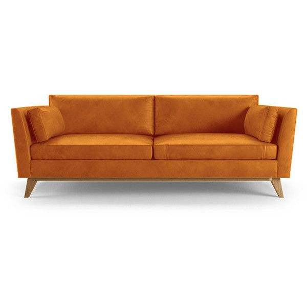 Wonderful Roller Mid Century Modern Orange Leather Sofa ($4,019) ❤ Liked On Polyvore  Featuring Home