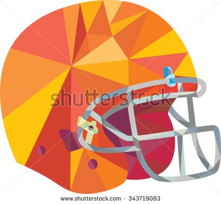 Low polygon style illustration of an american football helmet headgear viewed from side set on isolated white background.  - stock vector #helmet #lowpolygon #illustration