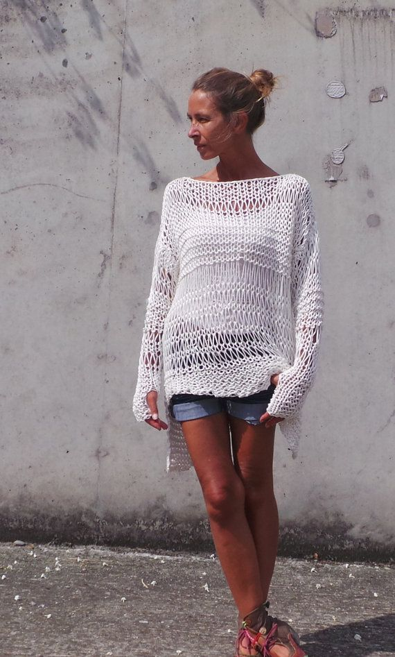 ivory sweater / Loose knit sweater / white sweater / by ileaiye