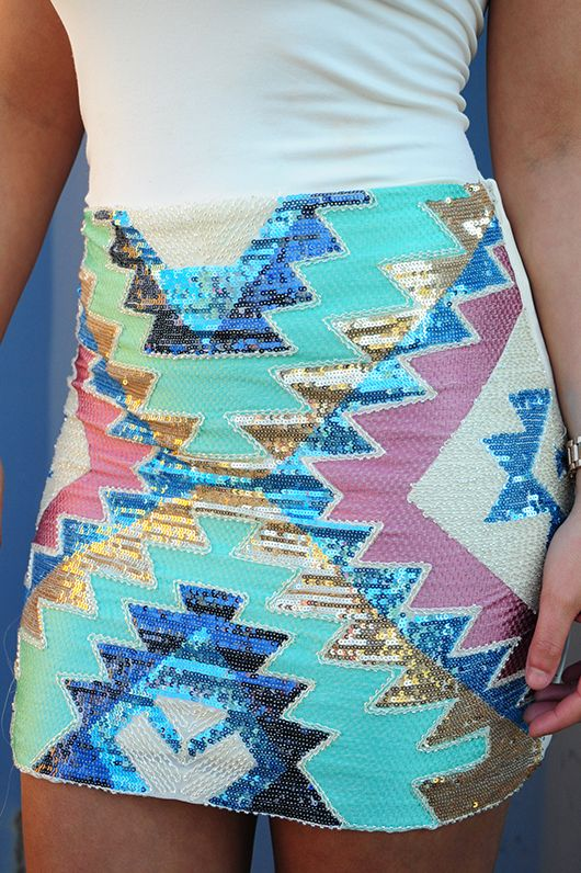 Sequin tribal skirt.
