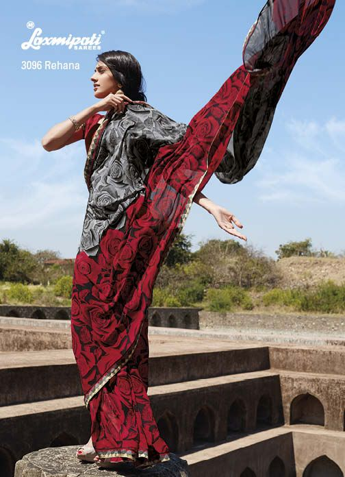 Cool combination of Gray & red georgette saree with rose prints &  printed diamond lace, That's Perfect !