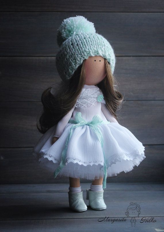 Soft doll handmade Angel White Turquoise by AnnKirillartPlace