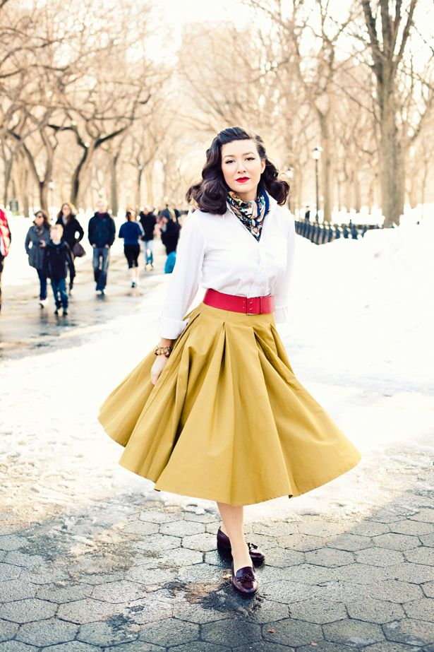 inspiration from icons: Jamie Beck, Full Skirts, Pinup Style, Yellow Skirts, Style Icons, Vintage Outfits, Winter Pinup Outfits, Circles Skirts, Vintage Style