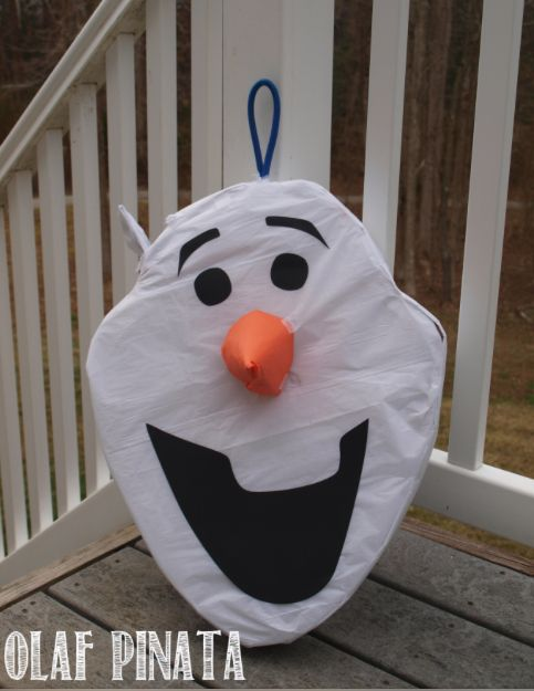 This DIY Olaf Piñata is so inexpensive and easy to make. Kids will have so much fun playing with this at a Frozen themed party or christmas party.
