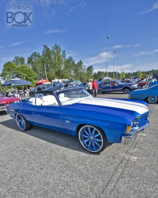 72 chevelle #BecauseSS convertible asanti af130 multi spoke wheels blue white