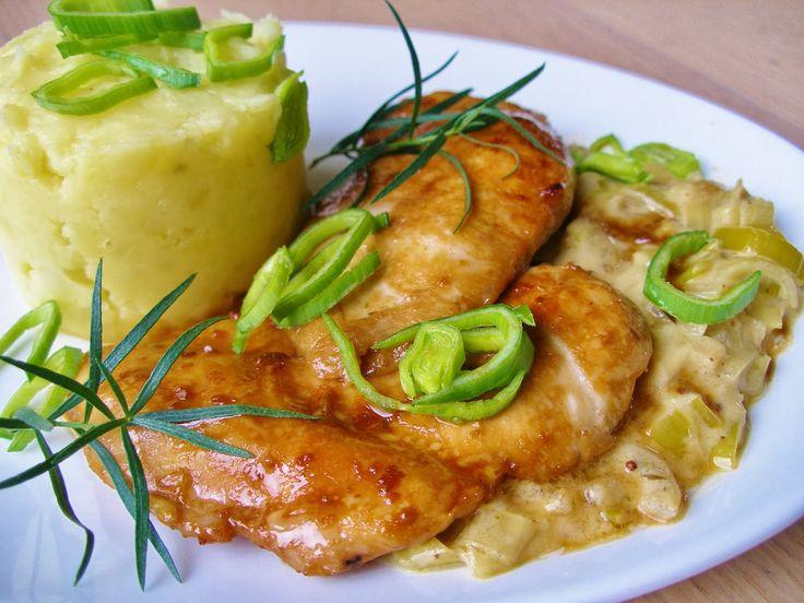 V kuchyni vždy otevřeno ...: Glazované kuřecí s pórkovou omáčkou
