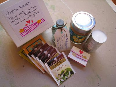 """Part of survival kit that I made for my friend. Kit was full of positive suprises. This """"Warm hug"""" contains tea, honey, candles, matches and bathing salt for feet."""