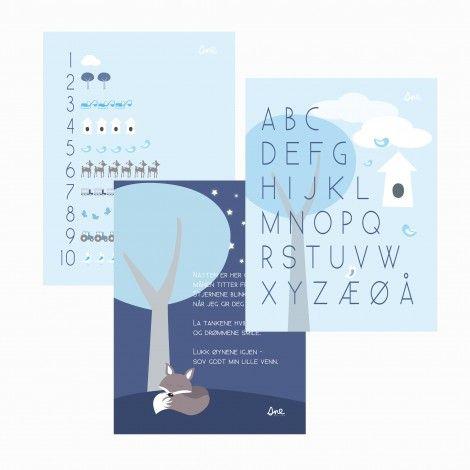 Sne design prints, 3-pack, ABC, 1-10, god natt