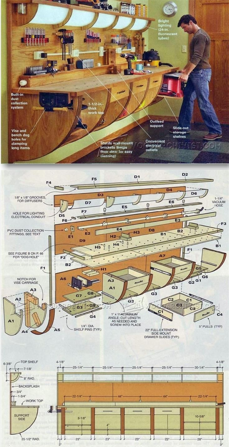 Wall Hung Workbench Plan - Workshop Solutions Projects, Tips and Tricks | WoodArchivist.com(Diy Furniture Ideas)