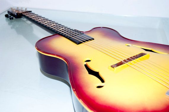 Vintage 1960s 60s Sunburst Emenee Tiger Toy Guitar Really