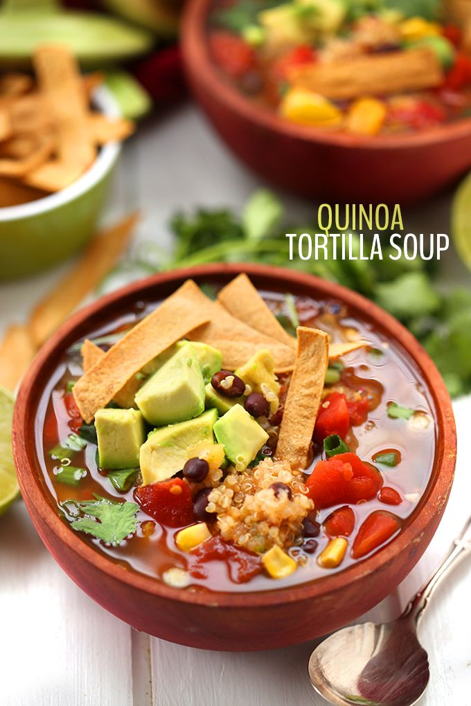 Swap the chicken for quinoa in this healthy vegetarian Quinoa Tortilla Soup recipe! Quinoa is high in fiber and protein and makes a great non-meat alternative in this spicy Mexican soup.