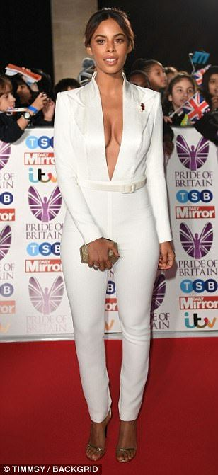 A bit of all-white: The blonde was joined by The Saturdays' Rochelle Humes - who stood out from the crowd by ditching the traditional red carpet gown for a striking white jumpsuit