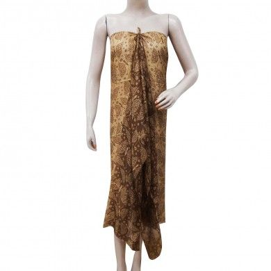 "Butterfly Print Pure Silk Brown Scarf Summer Women Sarong Stylish Stole 70"" X 40"""