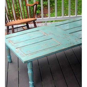 Door re-purposed into table