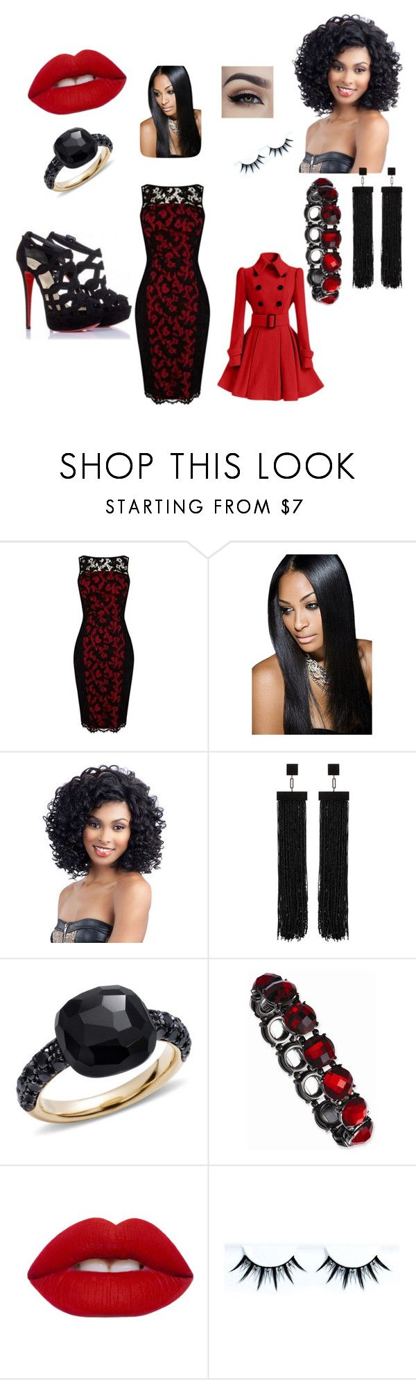 """""""Anniversary type look (gifted dress, shoes, jewelry and hair)"""" by keyairaswag ❤ liked on Polyvore featuring Christian Louboutin, Karen Millen, Tom Ford, Pomellato and Lime Crime"""