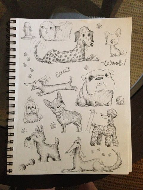 dog sketches and illustrations Hannah Tuohy
