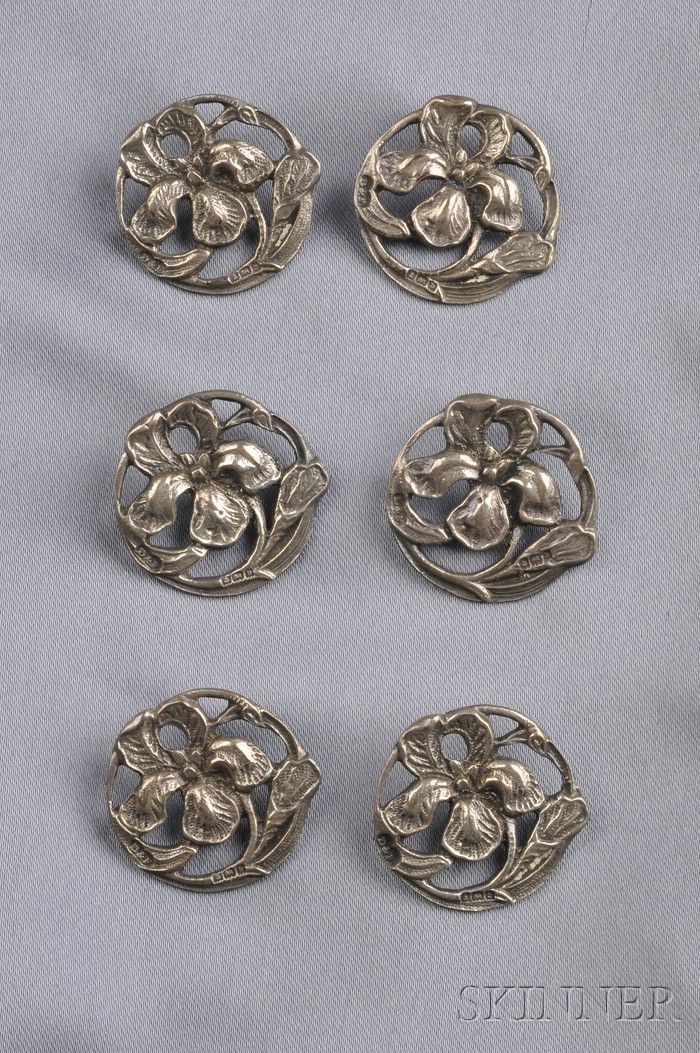 Six Art Nouveau Sterling Silver Buttons, Deakin & Francis, Birmingham, each depicting an iris, lg. 1 in., British hallmarks, boxed.