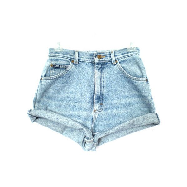 80's Lee acid wash high waist shorts size - S/M ($26.00) ❤ liked on Polyvore