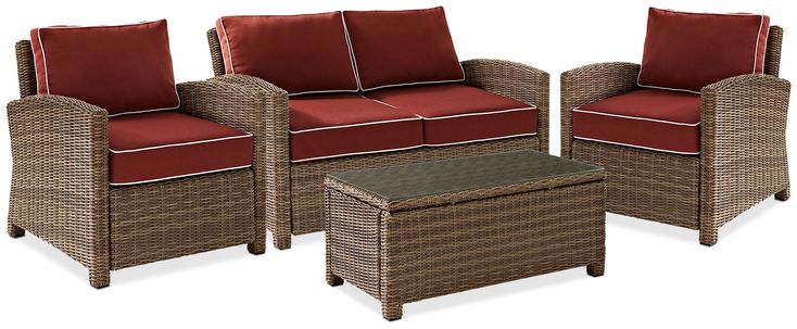 Sangria Outdoor Loveseat, 2 Chairs And Cocktail Table Set - Sangria