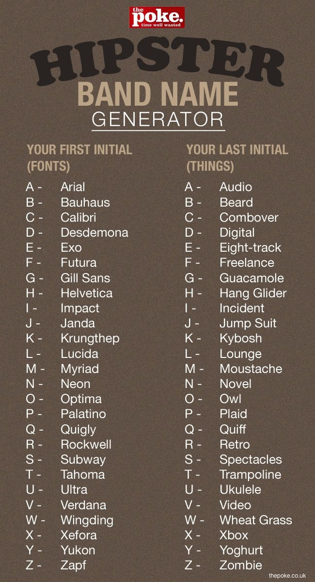 Hipster Band Name Generator....Wing Ding Guacamole omgoodness