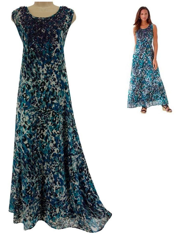 18 2X NEW SEXY Women ANIMAL PRINT NECKLACE MAXI DRESS Bead Summer PLUS SIZE Tall #JessicaLondon #Maxi #Versatile