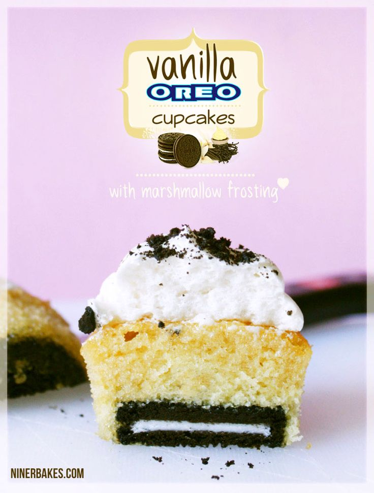 Yummiest Vanilla OREO Surprise Cupcakes with Marshmallow Frosting   - by @niner bakes
