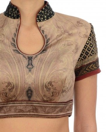 Tarun Tahiliani Beige Jamewar Saree Blouse