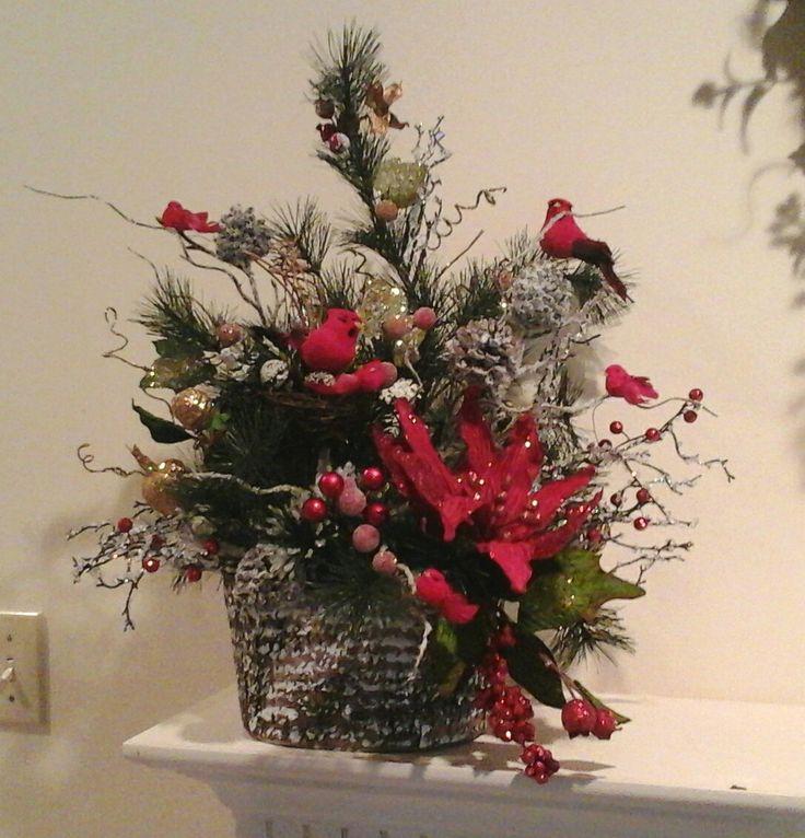 Christmas Floral Arrangement, Floral Centerpiece,Rustic ...