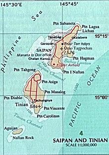"Wikipedia contributors, ""Tinian,"" Wikipedia, The Free Encyclopedia, [http://en.wikipedia.org/w/index.php?title=Tinian&oldid=597172625] (accessed March 16, 2014) 