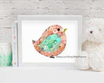 Kwekerij vogels knop Art PRINT Baby vogel Mint en door BellePapiers