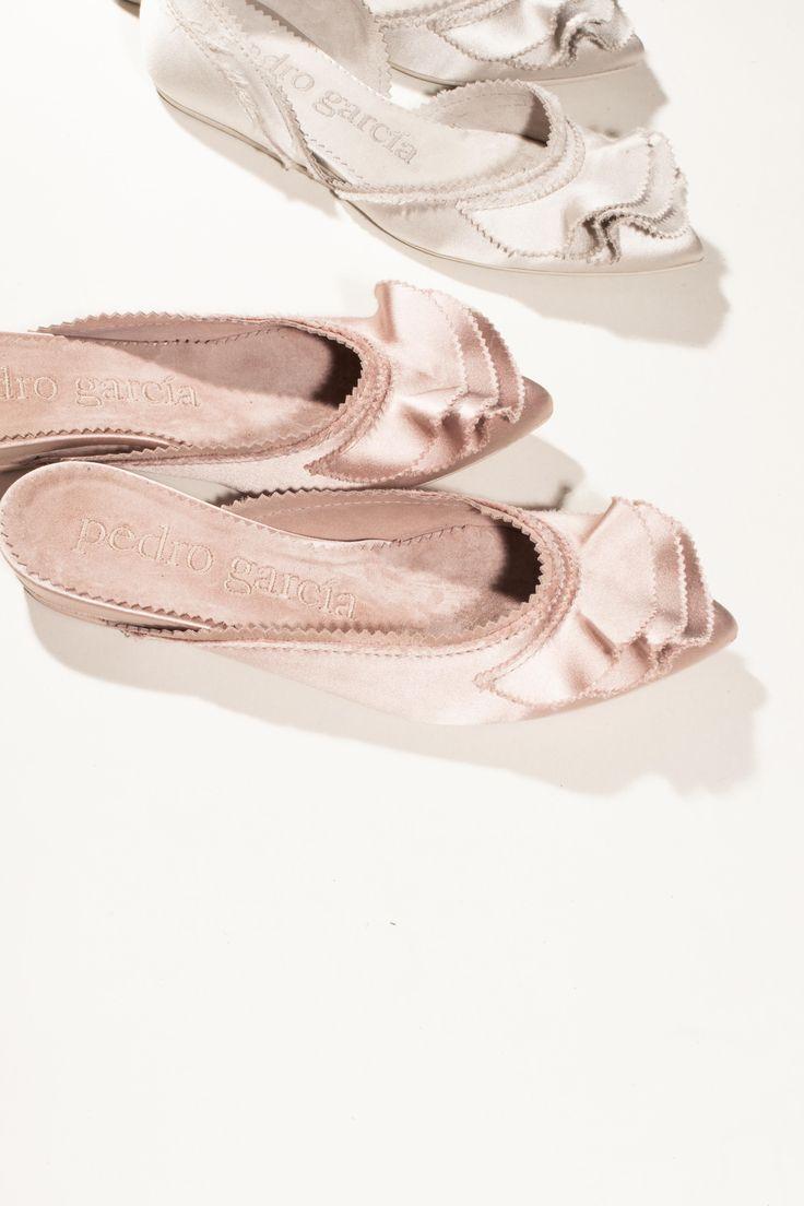 Alia / ruffle satin mule in chiffon and Adila / ruffle d'orsay skimmer in pearl I Pedro Garcia shoes I Autumn-Winter 2016 I Made in Spain