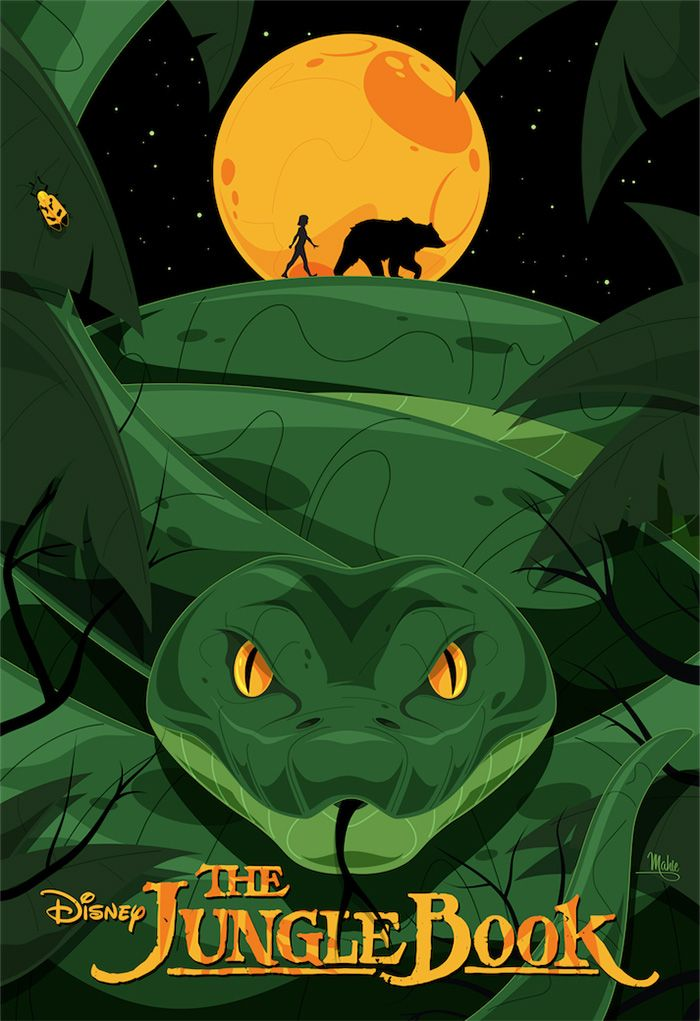 "Movie Synopsis: ""An orphan boy is raised in the jungle with the help of a pack of wolves, a bear, and a black panther.""  More Mike Mahle AMPs: Mike Mahle  Artists Website: http://mikemahle.com/  Poster Posse: http://posterposse.com/"