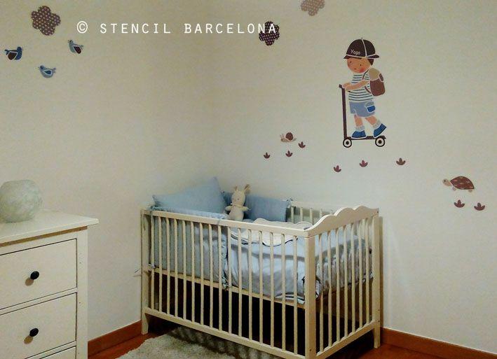 Habitaci n beb con vinilo personalizado de stencil for Habitacion con vinilo
