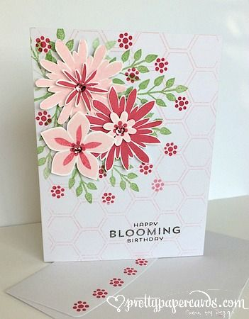 The bouquet on this card is pretty enough to frame! Uses Stampin Up's Flower Patch stamp set and coordinating Flower Fair framelits