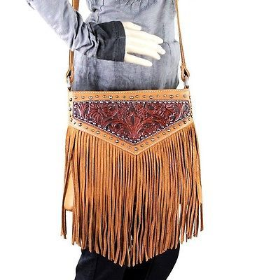 Montana West Concealed Carry Leather Fringe Cross Body Bag Western Purse Brown