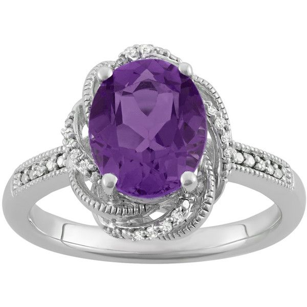 Amethyst and 1/20 ct. tw. Diamond Ring in Sterling Silver ($125) ❤ liked on Polyvore featuring jewelry, rings, purple, sterling silver amethyst ring, purple diamond ring, diamond rings, sterling silver diamond rings and diamond swirl ring