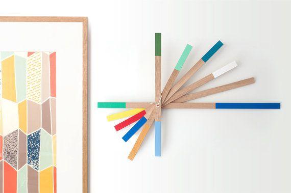 Starburst Uhr Wandkunst getaucht Modern aus Holz. Eiche Mitte by Senkki | Etsy