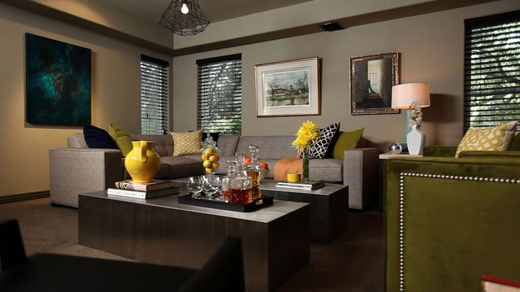 Love the idea of a darker color scheme with bright pops of for Jeff lewis living room designs