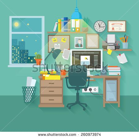 Workspace in room interior with desk chair home computer and stationery vector illustration - stock vector