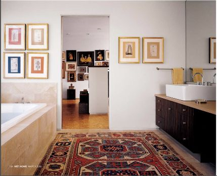 having a great oriental rug in the bathroom instead of a bathmat very luxurious