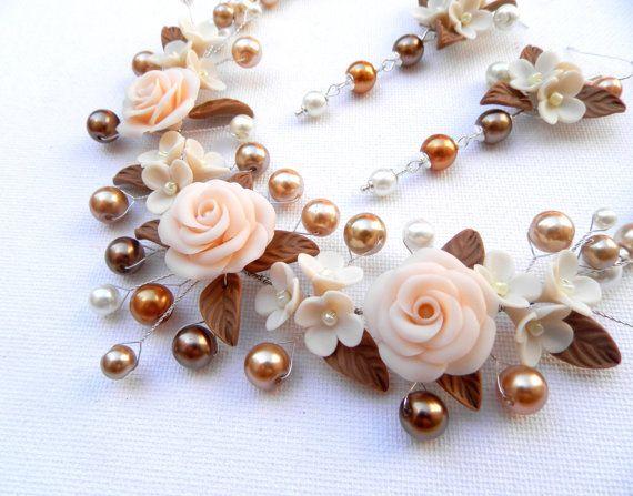 Bib necklace  Beige brown jewelry  Flower jewelry by insoujewelry, $77.00