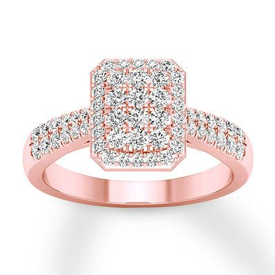 04f0cf3d48809c Diamond Engagement Ring 1/2 ct tw Round-cut 10K Rose Gold in 2019 ...