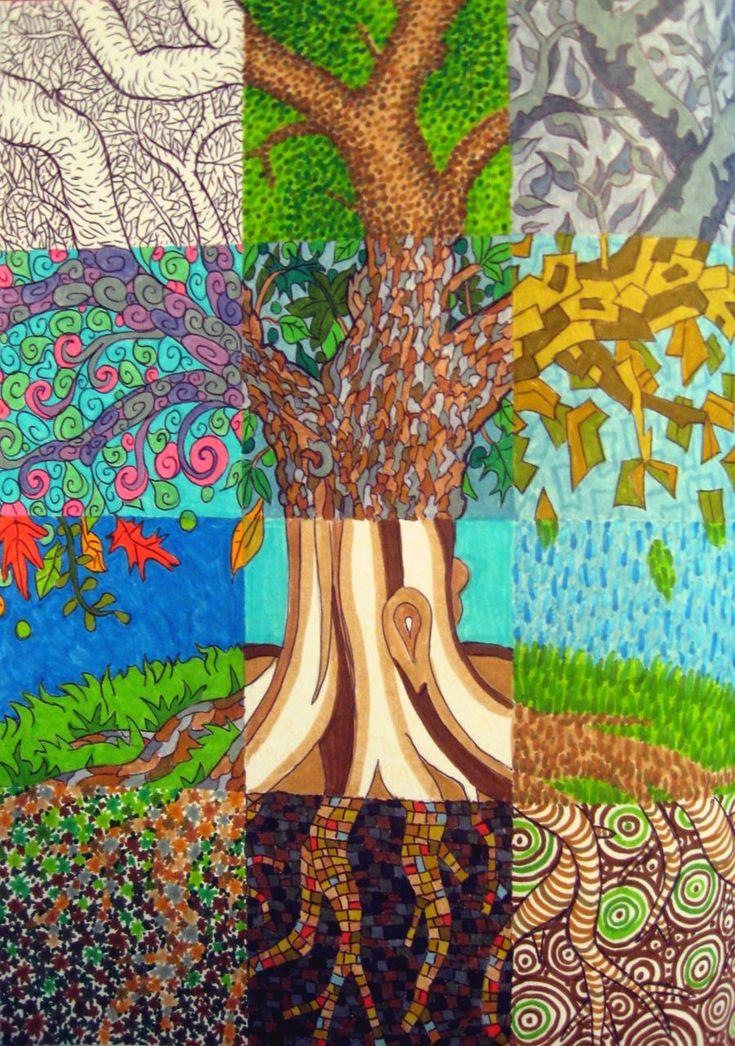 Patchwork Tree by Madelei.deviantart.com - A tree divided up into 12 squares, each colored in a different style. Ball-point pen and markers. #drawing